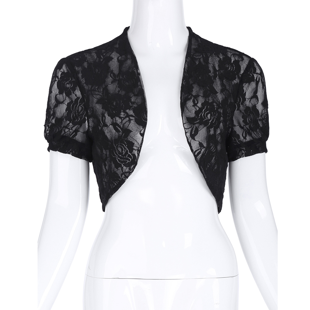 Belle Poque Hot Sale Fashion Women Short Sleeves Jacket Outerwear Lace Short Shrug Open Stitch Solid Bolero Slim Hollow Out Coat