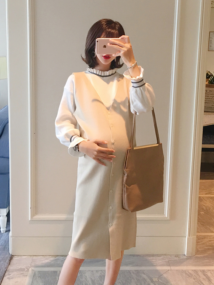 Maternity dress tide mom personality suit long-sleeved knit dress in the long sweater vest two pieces bodycon two tone knit slip dress