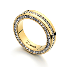 Luxury Allencoco Brand Full Set Rhinestone Crystal Stainless Steel Rings For Women And Men 18K Yellow Gold Wedding Ring