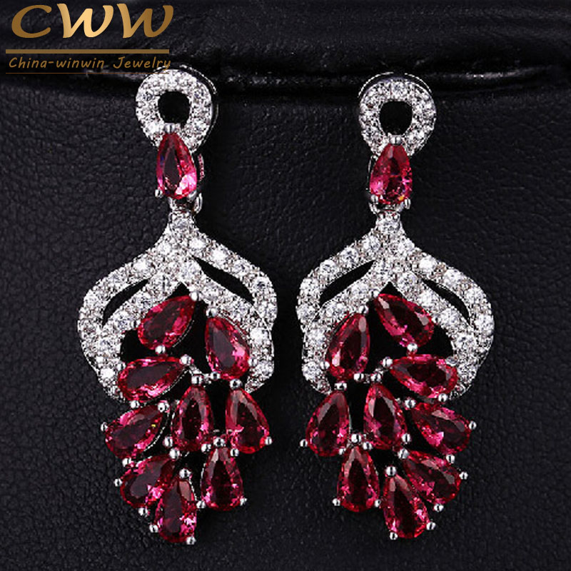 CWWZircons High Quality Micro Pave 3.5 Cm Big Red AAA+ Cubic Zircon Drop Flower Shaped Earrings With CZ Stones CZ066