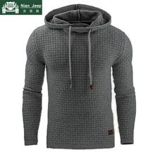 Plus Size S-5XL Hoodies Men Brand Long Sleeve Solid Color Hooded Hoodi