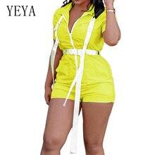 YEYA New Style Fashion Sexy Zipper V Neck Pockets Women Jumpsuit Elegant Summer Short Sleeve Casual Playsuit Overalls