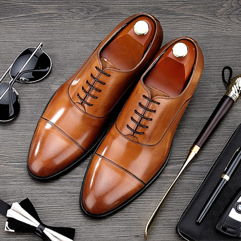 Luxury Brand Man Cap Top Formal Dress Shoes Genuine Leather Designer Party Oxfords Men's Bridal Wedding Flats For Male MG66 top quality crocodile grain black oxfords mens dress shoes genuine leather business shoes mens formal wedding shoes
