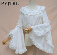 PYJTRL New Sweet Lolita Long Flare Sleeve Chiffon Top Blusas One Word Collar Lace White Kimono Shirt Blouse For Women