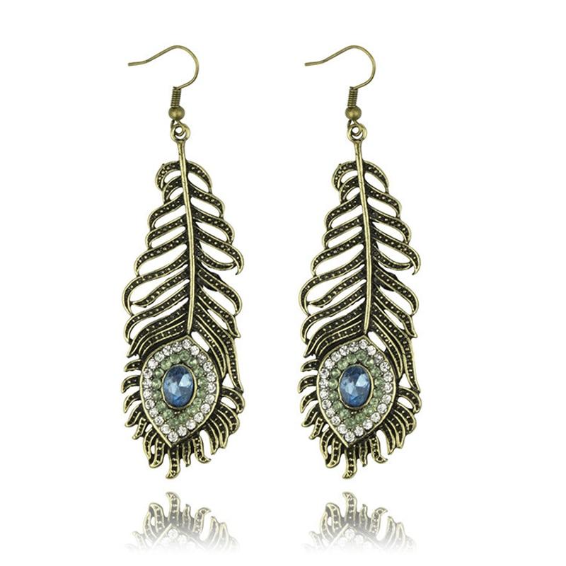New Arrival Top Luxury Feather Crystal Long Drop Earring Fashion Bronze Earrings For Women