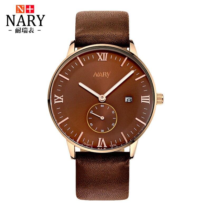 NARY Brand Fashion Men Watch Genuine Leather Strap Luminous hands WristWatch Retro Roman numerals Quartz Watch