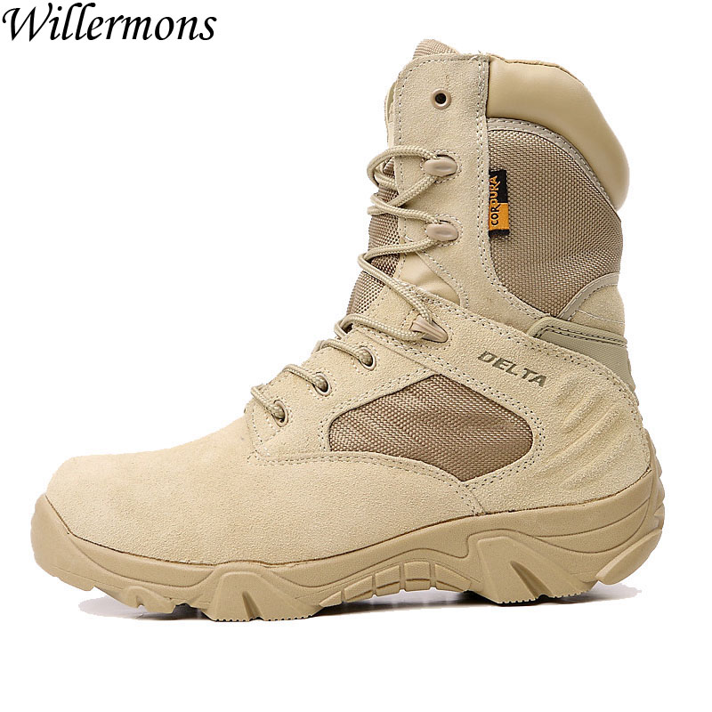 Summer US Force Men's Outdoor Breathable Suede Military Combat Hiking Boots Shoes Men Army Tactical Trekking Boots Sports Shoes