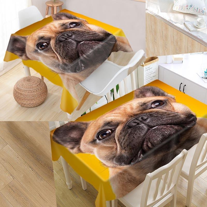 Bulldog Puppy Dog Custom Table Cloth Oxford Fabric