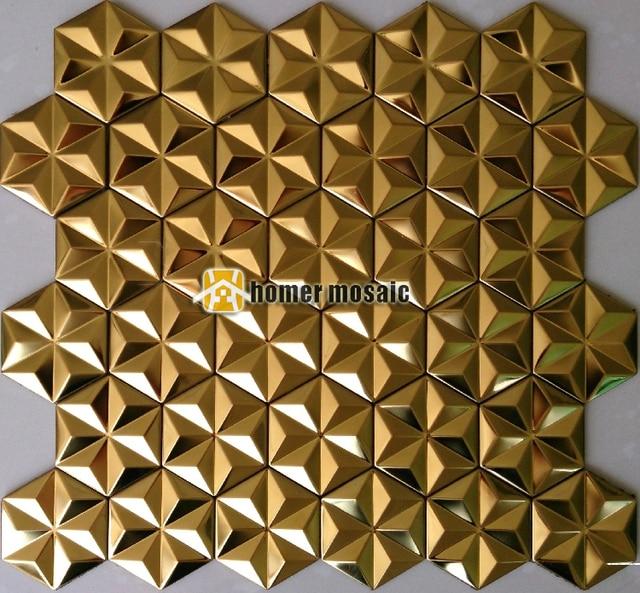Schneeflocke Form Selbstklebende Goldene Farbe Edelstahl Mosaik Fliesen  Kamin Mosaik Mordern Wohnzimmer Wand Abdeckung
