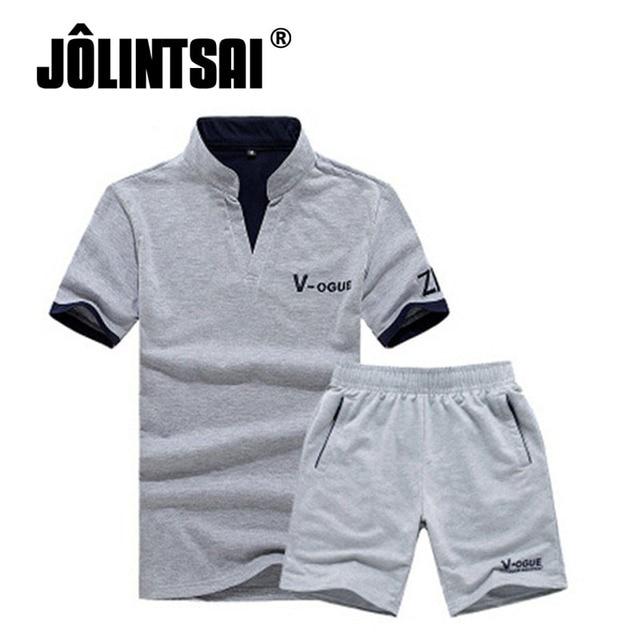 Jolintsai Letter Print Short Sleeve 2017 T-Shirt Men Sportwear Set Polo Shirts + Shorts Summer SET Brand Clothing Tracksuit