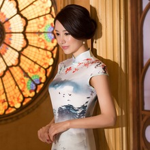 Silk Cheongsam Chinese style dress women sexy Qipao vintage China  Landscape painting clothes