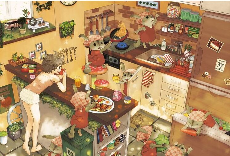 Rabbit kitchen The wooden puzzle 1000 pieces ersion paper  jigsaw puzzle adult children's educational toys virgo the wooden puzzle 1000 pieces ersion jigsaw puzzle white card adult heart disease mental relax 12 constellation toys