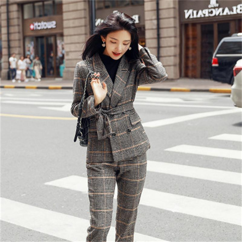 Fashion Plaid suits women Small suit Autumn New Slim fashion casual suit women double breasted plaid
