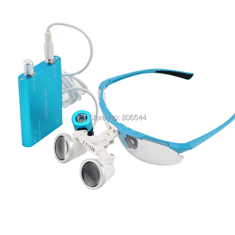 hot 2.5x320mm Dentist Dental Surgical Medical Binocular Loupes Optical Glass Loupe + Portable LED Head Light Lamp blue купить