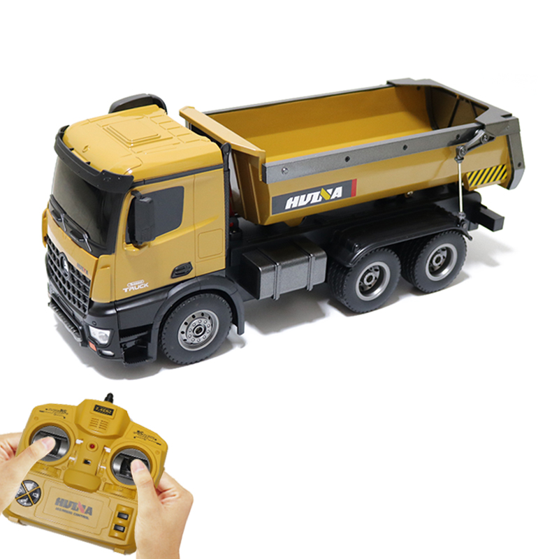 HUINA Toy Rc Drum truck Hopper truck Model with 10 function 10 Channel 2.4GHz Remote control car Gift for Children huina 1573
