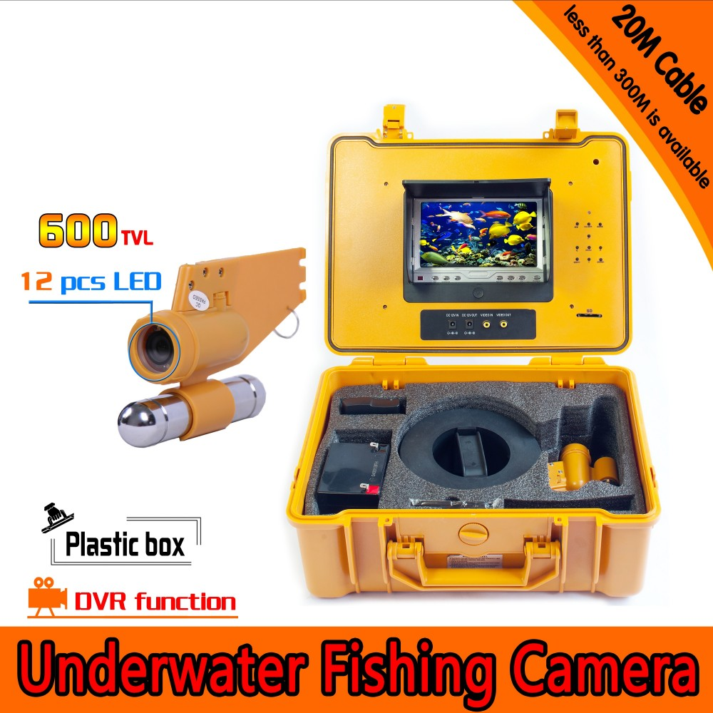 20Meters Depth Underwater Fishing Camera Kit with Single Lead Bar & 7Inch Monitor  with DVR Built-in & Yellow Hard Plastics Case