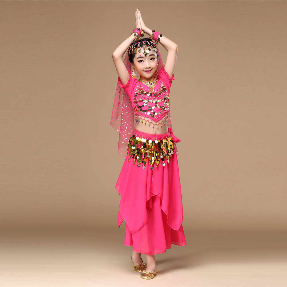 Kids Belly Dance เครื่องแต่งกายชุด Oriental หญิงเต้นรำหน้าท้องเต้นรำอินเดีย Belly Dance เสื้อผ้า Bellydance เด็กอินเดียเสื้อผ้า