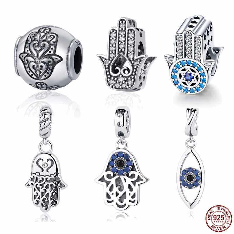 925 Sterling Silver Charm Blue Eye Lucky Fatima Hand Hamsa Hand Eye Pendant Charm fit PAN Charm Bracelet Silver 925 Jewelry silver colored plated sterling silver cubic zirconia cz hamsa hand evil eye pendant 16 2 extender n1312 01