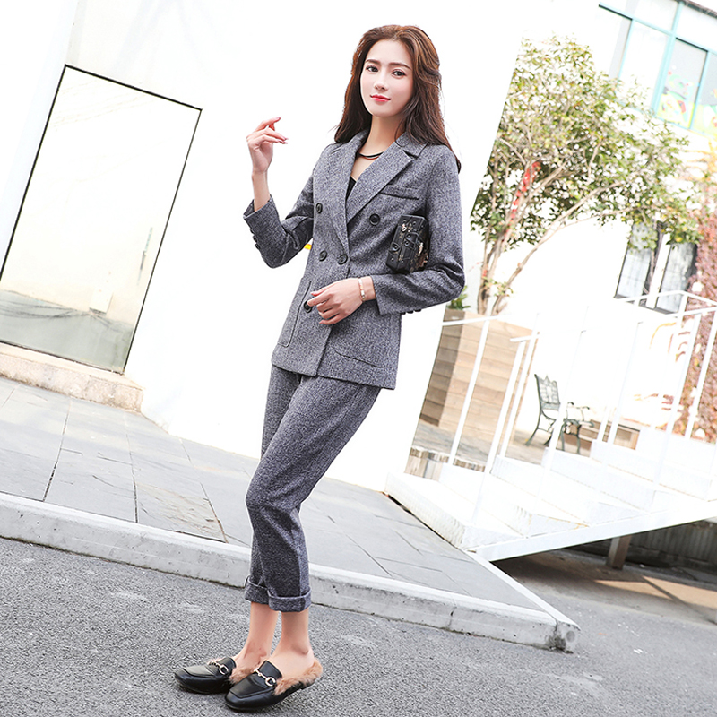 Fashion Business Pant Suits Uniform Formal Double Breasted Jacket and Long Pant Black Blazer Set Women