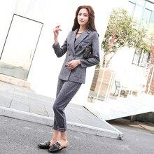 99825bdb49e6 Moda Negócios Pant Ternos Uniforme Formal Double Breasted Jacket e longo  Calça Preta Conjunto de Blazer Mulheres OL 2 Duas Peças.