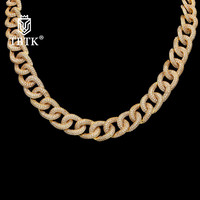 TBTK Hot Sale Copper With Clear CZ Crystal Men Long Necklace Gold Silver Black Miami Cuban Link Chain Women Punk Trendy Jewelry