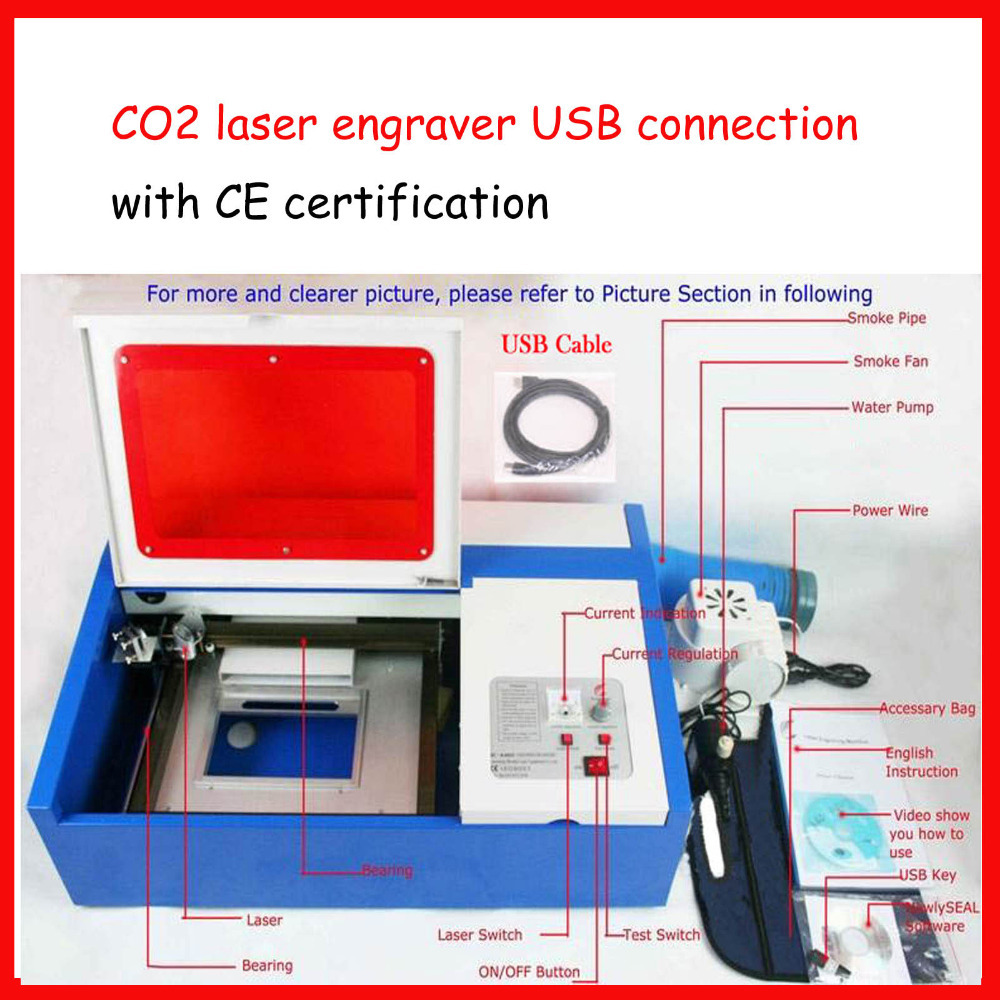 CO2 Laser engraver/ laser engraving machine 3020/ laser cutting machine/40W/ 200*300mm USB port, engrave stone/wood/glass.. manufacturer 3020 40w mini co2 desktop laser engraving cutting machine