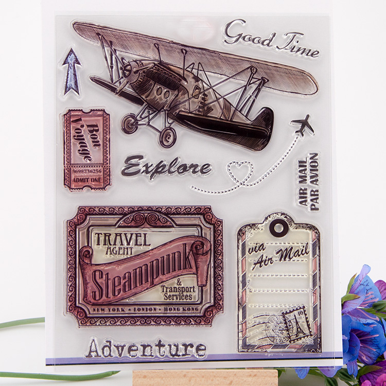 Vintage plane Scrapbook DIY photo cards