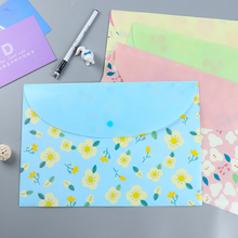 4 Pcs/Lot New Stationery Colorful Flowers Button Type A4 Envelope High Quality Document Bags File Folder School Office Supplies
