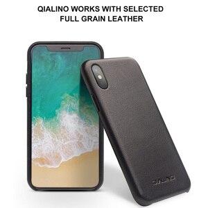 Image 2 - QIALINO Genuine Leather Case Telefone para o iphone Tampa Manga XS Artesanal Moda de Luxo Ultra Fina de Volta para iPhoneXS para 5.8 polegada