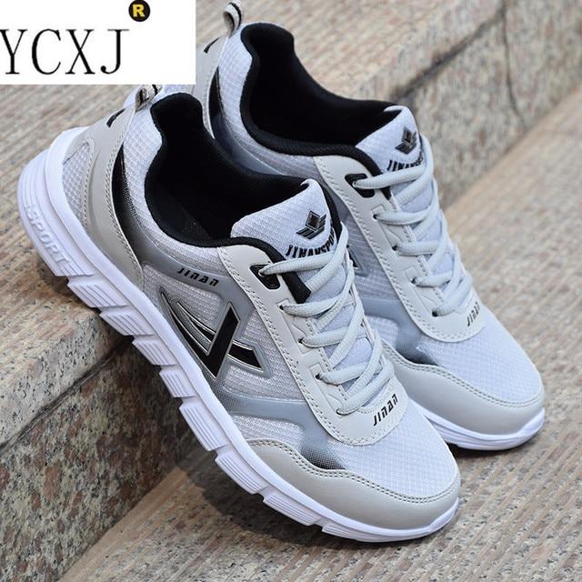 Новый хит продаж, обувь на шнуровке спортивная обувь Для мужчин супер легкие кроссовки уличной спортивной Для мужчин легкие дышащие сетчатые кроссовки