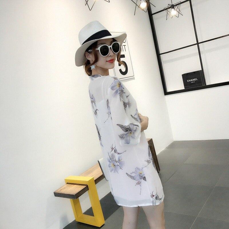 HTB1nF4UKqmWBuNjy1Xaq6xCbXXa1 - Blusas Mujer De Moda  New Women Summer Chiffon Blouse Pinted Casual Kimono Cardigan Long Blouses Sunscreen Tops Plus Size