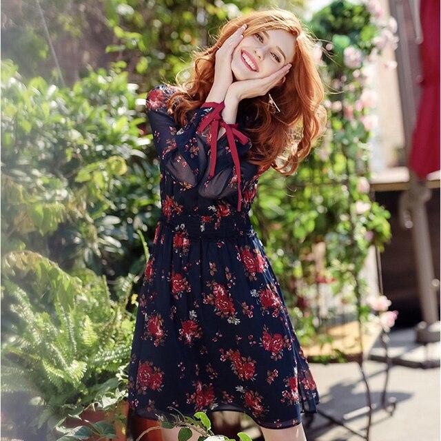 Otoño mujer Vintage Vestido de manga larga elegante vestido de estampado floral cuello vuelto vestido de gasa de alta calidad