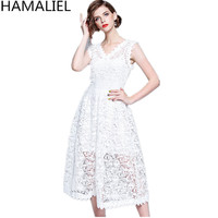 HAMALIEL White Water Soluble Lace Ball Gown Women Dress Summer Sleeveless Hollow Out Crochet Vest Emprie Sexy V Neck Dresses