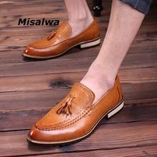 Misalwa Centavo Loafer Slip-On Vestido de Luxo Da Marca dos homens Sapatos Borla Sapatos de Casamento Festa de Natal para Os Homens Casuais mocassim de couro
