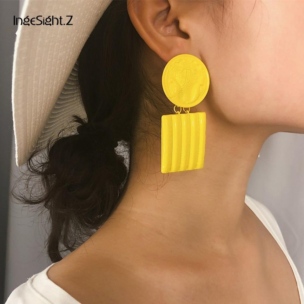 IngeSight Z 7 Colors ZA Jewelry Punk Geometric Carved Flower Dangle Earrings Statement Drop Earrings for Women Jewelry Brincos in Drop Earrings from Jewelry Accessories