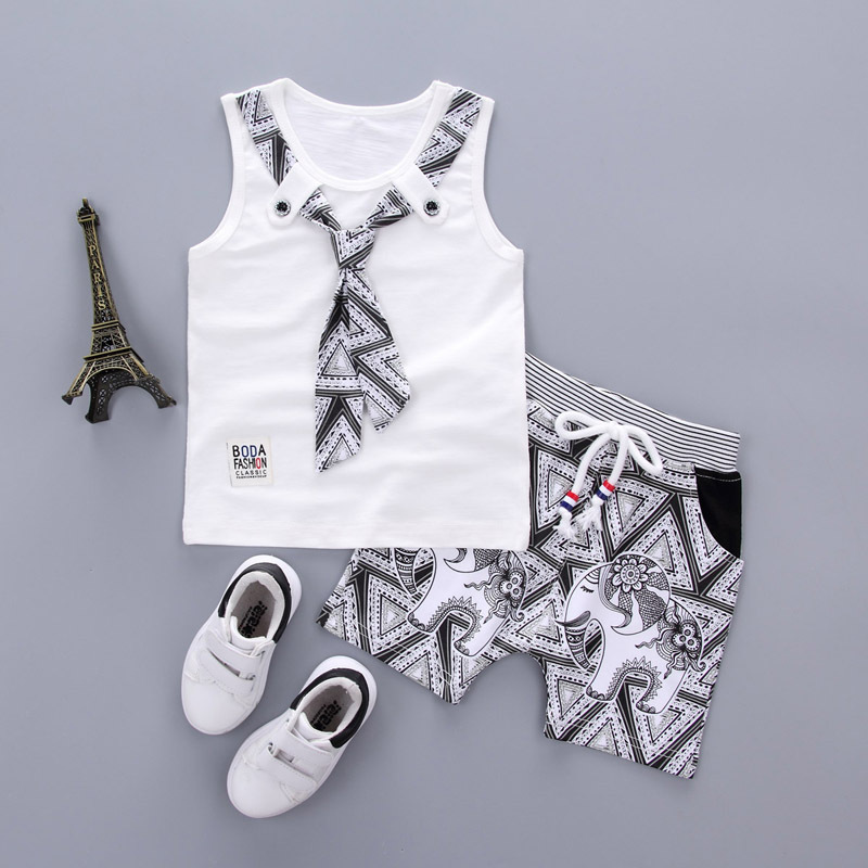 Fashion Brand Children Boy Girl Clothing Set 2pcs Tie TShirt And Cartoon Short Pants Baby Clothes 2017 Summer Kids Clothing Sets 2pcs set baby clothes set boy