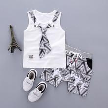 2pcs Tie T-Shirt And Cartoon Short Pants Set