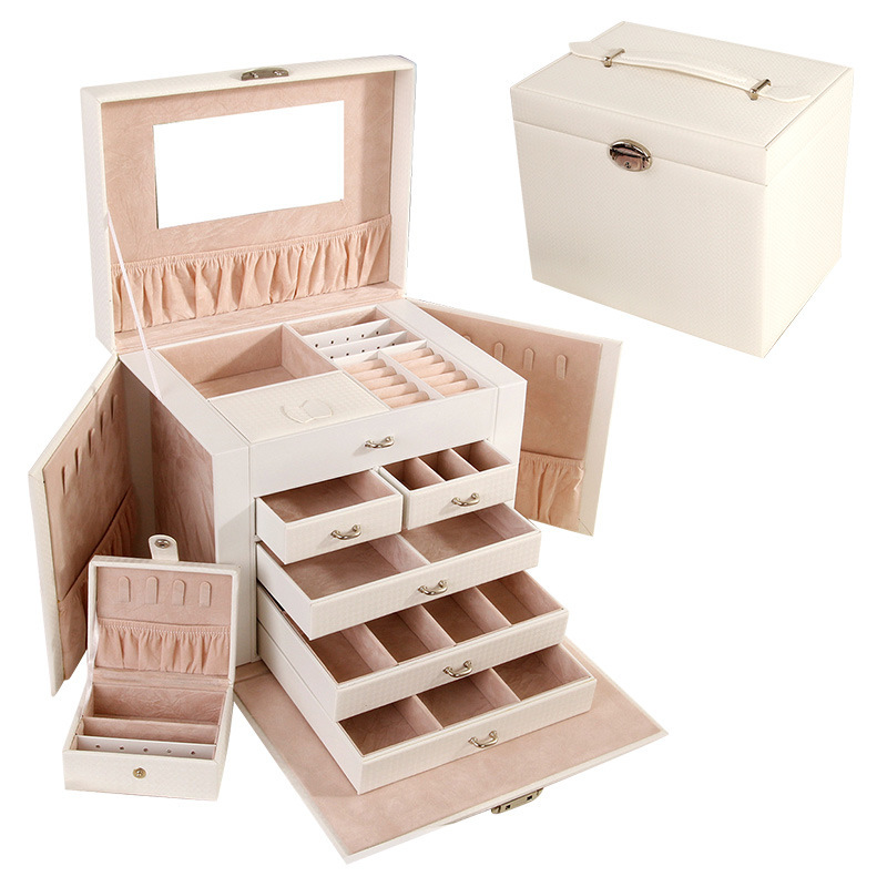 Hot sale Fashion Large capacity Jewelry Box Five layer Leather Makeup Cosmetics Organizer Choker Ring Necklace