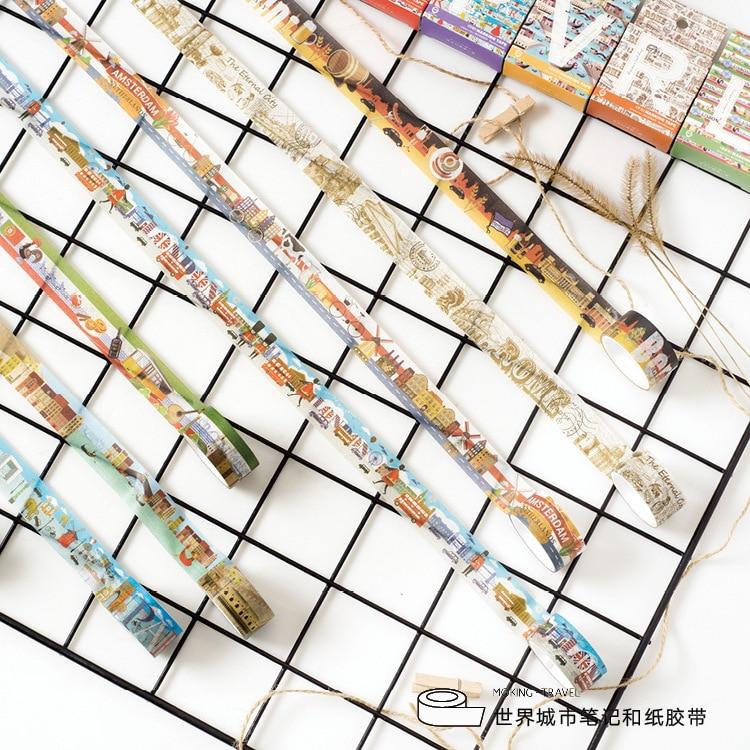 2cm Wide World City Notes Series Washi Tape Adhesive Tape DIY Scrapbooking Sticker Label Masking Tape