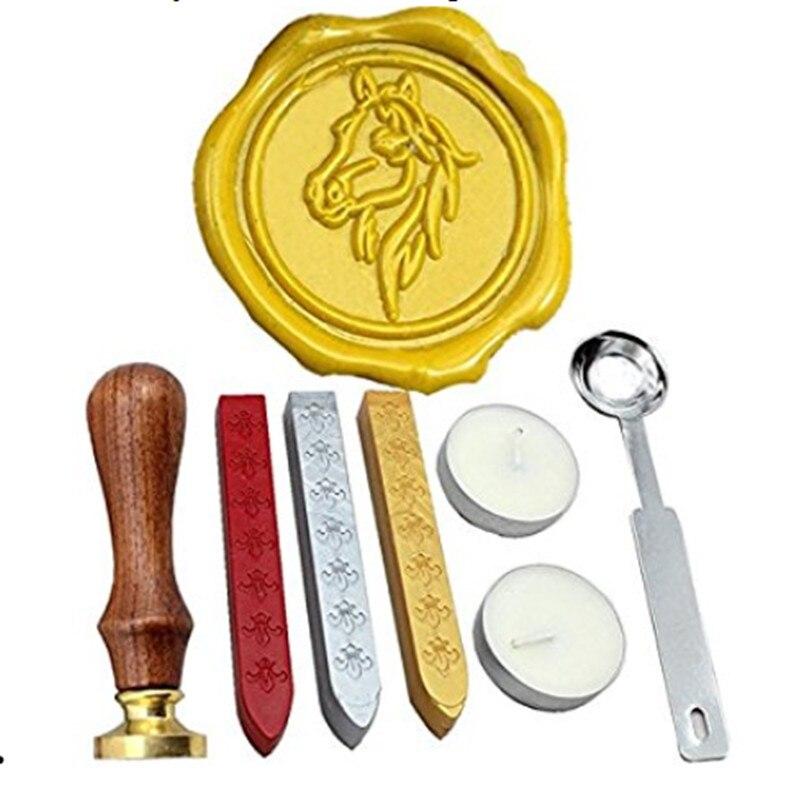 Cheval Vintage Rosewood Wax Seal Stamp Set Avec Or Rouge Argent Bâtons dans Timbres de Bureau et des Fournitures Scolaires