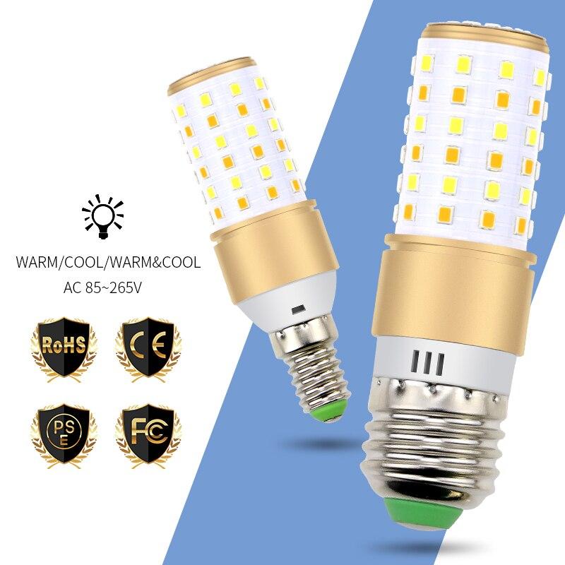 220V E27 Led Corn Bulb E14 Led Lamp 110V 2835 SMD 3 Color Temperature Integrated Light 20 50 70leds No Flicker Ampul Smart IC