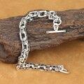 Ручной серебро 925 ом мантра браслет старинные чистого серебра цепи браслет стерлингового серебра человек браслет