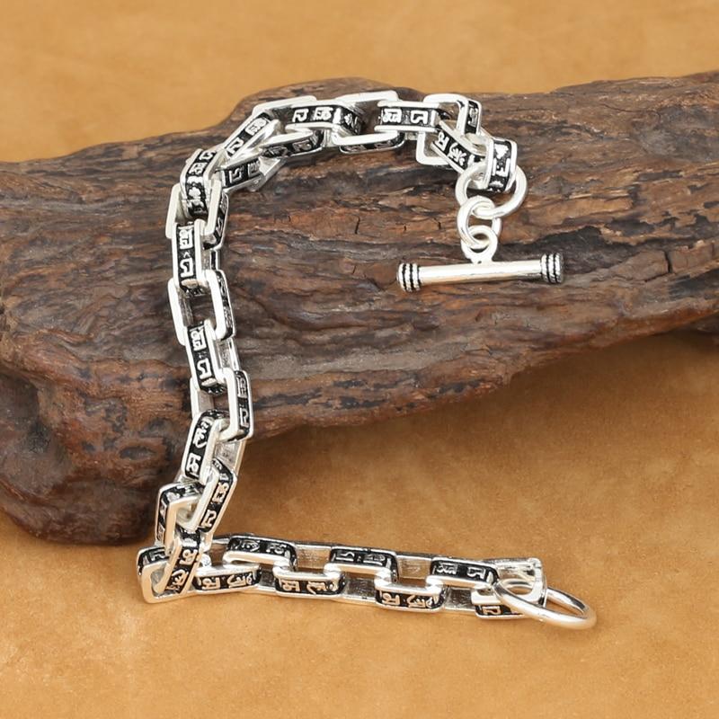 100% 925 Silver OM Mantra Bracelet Vintage Pure Silver Chain Bracelet Solid Sterling Man Bracelet 9mm handmade thailand 925 siilver bracelet vintage sterling silver chain bracelet pure silver man bracelet