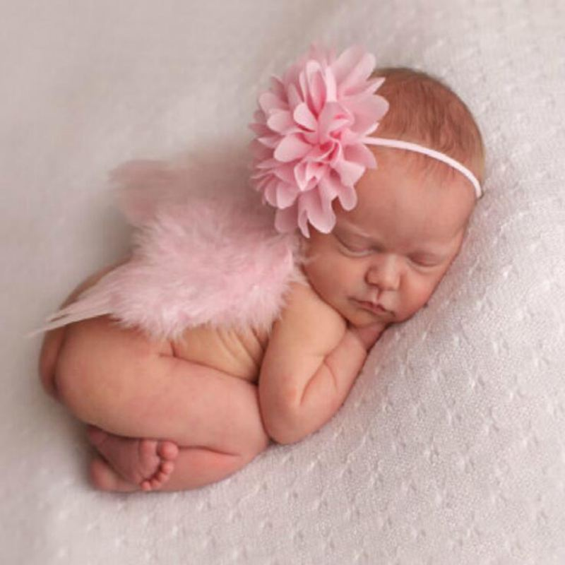 Cute Pink Newborn Girl Clothes Baby Photography Prop Feather Angel Wings Lace Flower Headband Set Ropa De Bebe Photo Accessories newborn baby photography props infant knit crochet costume peacock photo prop costume headband hat clothes set baby shower gift