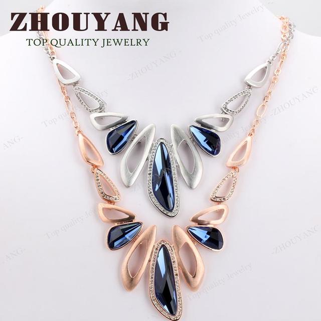 Top Quality Luxury Blue Crystal  Gold Plated Pendant Necklace Party Jewelry Austrian Crystal  Wholesale ZYN571 ZYN572