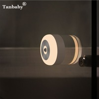 Tanbaby LED Night Light PIR Motion Sensor USB Rechargeable Battery Powered Wall Lamp Bedside Dormitory Energy