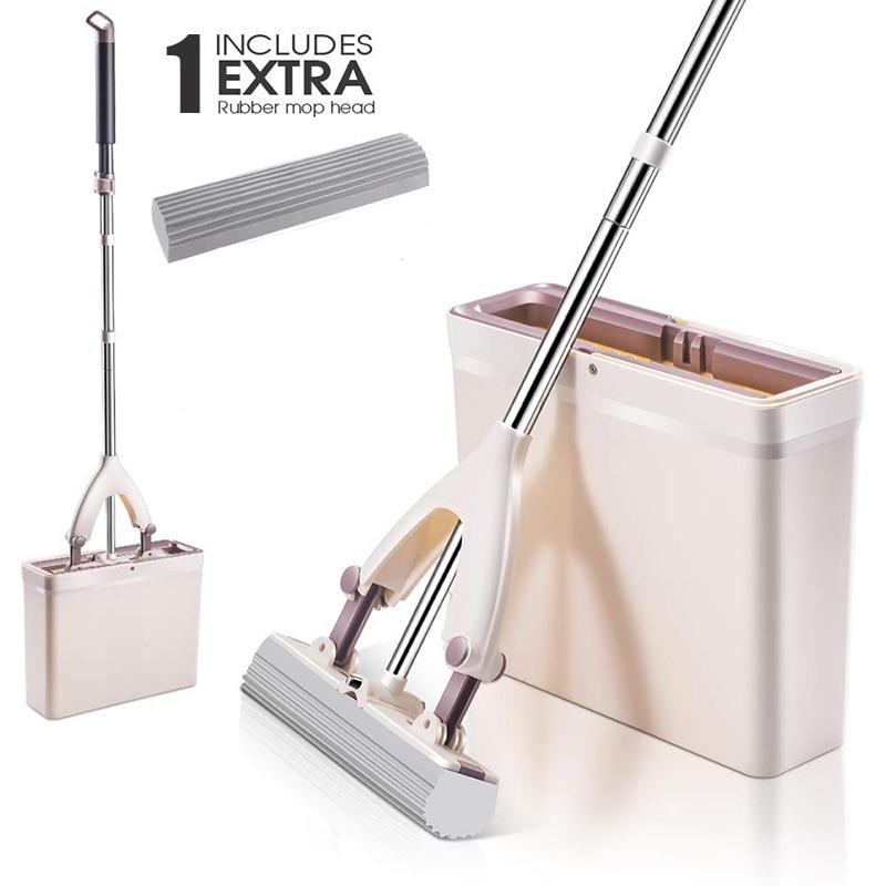 Sponge Mops And Bucket Set With Replacement Sponge Heads PVA Sponge Mop With Super Absorbent Easy Clean For Hardwood Floor