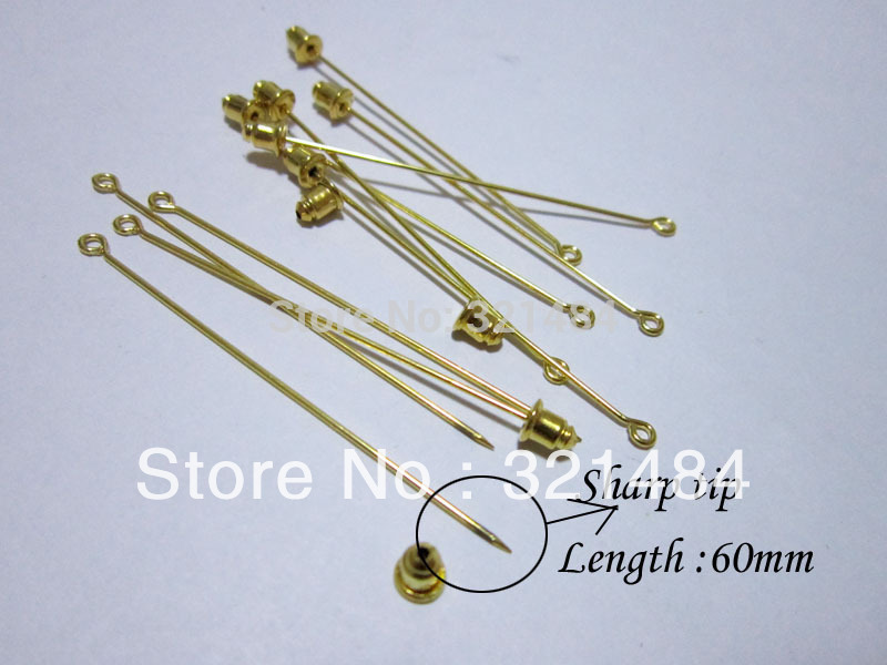 gold plated 60mm hijab pins and backs muslim fashionable straight stick pin islamic scarf safety hijab khaleeji fixed pins