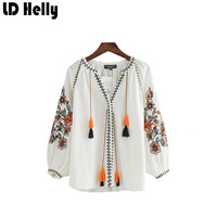 LD Helly Floral Embroidery Tassel Blouses V Neck Long Sleeve Tops Vintage Brand Design Conjoined Ladies