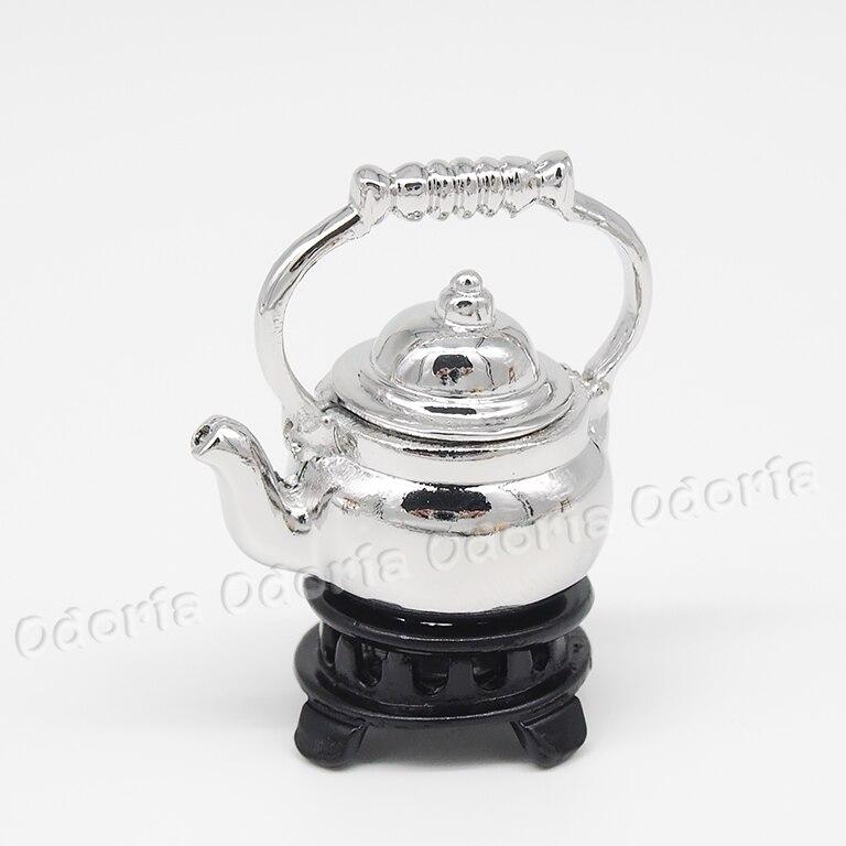 1:12 Retro Dollhouse Miniature Sliver Tea Pot Kettle Vaisselle Cuisine